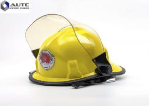 China Fire Construction Safety Helmets Face Shield Yellow Polyamine Flame Retardant on sale