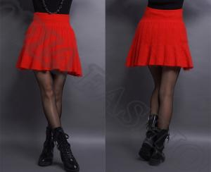 China Short Solid Red Womens Wool Skirts Folded For College In Summer on sale