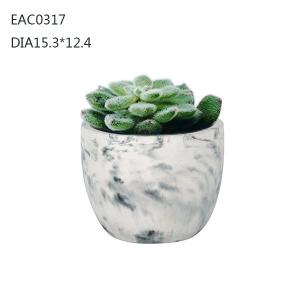China Succulent cylinder Concrete Plant Pots outdoor Imitation marble 15.3 cm ×12.4cm on sale
