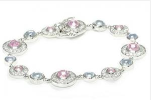 China Sterling Silver jewelry, Lavender & Pink CZ Cubic Zirconia Ladies Bracel on sale