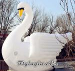 Hot White Inflatable Swan Model with Blower for Outdoor Decoration