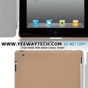 China Matte Skin Hard Plastic Case For iPad 2 (That Works With Smart Cover) - Brown on sale