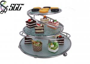 China Buffet 3 Tier Cake Stand with Three Glasses for Cake Muffin , Rose Gold / Stainless Steel Surface Plating on sale