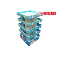 China Food Floor Tier Cardboard Display Shelves With Corrugated Four Sides on sale