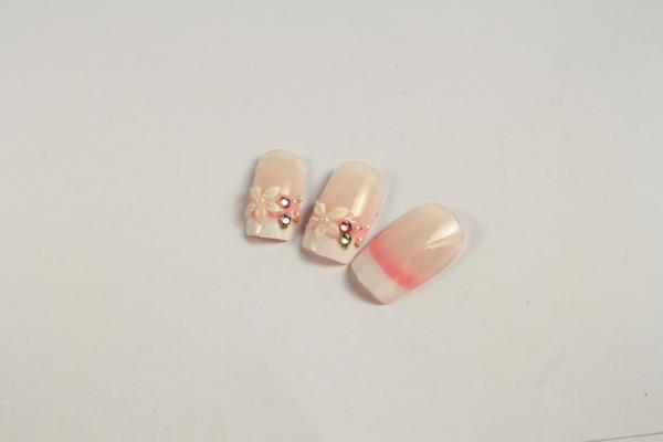 French Manicure natural looking Fake Nails 3D Kits For Fingers ...