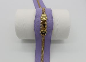 China Two Way Brass Close End Purse Zippers 35cm Light Purple Tape For Luxury Handbag on sale