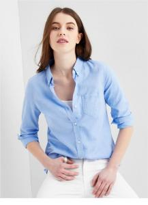 China Ladies fashion oxford casual blouse shirt plain shirt wholesale OEM custom made logo on sale