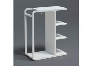 Quality High Glossy White Painted Garment Display Stand With Wooden Shelf for sale