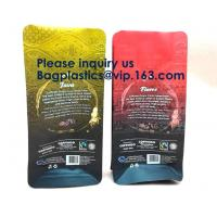 250g Heat Seal Side Gusset Yellow Coffee Pouches Bags With Valve Matte Coating Foil Flat Bottom Pouches Coffee 100g, Box