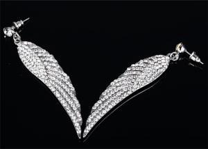 China 316L Stainless Steel Earrings Angel Wing Earrings Cubic Zirconia Jewelry on sale
