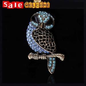 China Big Owl Brooches Wedding Bouquet Bird Vintage Golden Scarf Pin Up Buckle Broches Brooch on sale