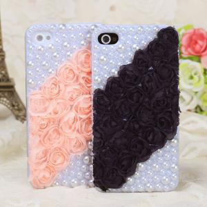 China Rose lace, pearls twill Mobile phone cases on sale