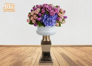 China Glossy White Fiberglass Flower Pot With Gold Leaf Pedestal Floor Vases on sale