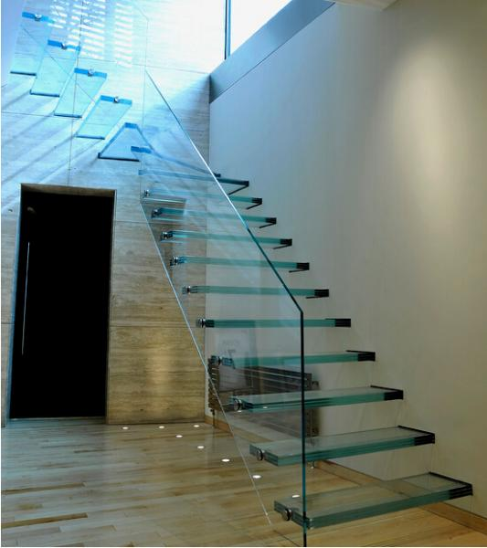 Indoor laminated glass staircase cantilever stair for sale