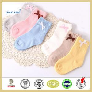 China Elegant high quality custom plain color bowknot cotton baby socks on sale