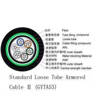China Black Coating Color Outdoor Fiber Cable , High Strength Outdoor Armored Fiber Optic Cable on sale
