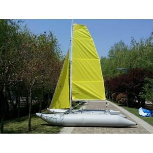 Mât T6 en aluminium gonflable jaune du bateau à voile de PVC 4.5m avec deux voiles