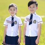 Polyester Kids School Uniforms For Girls And Boys Design White Short Shirt