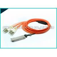 AOC Active Optical Cable Multimode , 40GBASE SR4 QSFP To QSFP Cable Up To 100 Meter Reach
