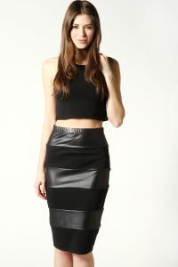 China Sexy Mature Leather Maxi Women Dresses Skirts Black For Young Ladies on sale