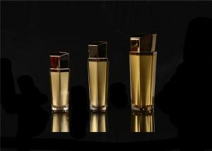 China 15ml 30ml 50ml 100ml Red Cosmetic Lotion Bottle With Shiny Goldern Pump And Clear Plastic Cap on sale