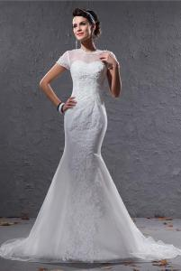 China Fashionable 2013 Short Sleeve Romantic Lace Wedding Gowns Dresses for Girls / Ladies on sale