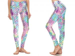 China Adults / Girls Mermaid Leggings Soft Printed Breathable Comfortable To Wear on sale