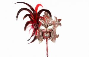 China Womens Masquerade Mask With Stick For Christmas Carnival Party on sale