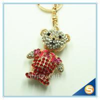 China 3D Teddy Bear Cute Cartoon Rhinestone Animal Shape Key Chain for Valentine's Day Gift on sale
