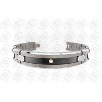 China Ti2 Titanium Jewelry Magnetic Titanium Bracelets With Black Accent And Clear Crystal on sale