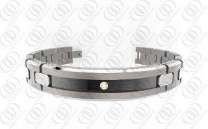 China Pulseras Titanium magnéticas de la joyería Titanium Ti2 con acento negro y el cristal claro on sale