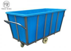 China Polyethylene Linen Industrial Plastic Laundry Trolley Basket On Wheels 2100 * 1080 * H880 Mm K1300L on sale
