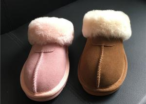 854477db25e0 ... Quality 100% Sheepskin Slippers Ladies Shoes Chestnut EVA Soft Sole  Suede Leather for sale ...