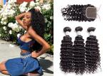 Cheap Deep Curly Hair Brazilian Human Hair 3 Bundles With  Closure