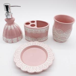 China Pink Lace Dress Ceramic Bathroom Set / Soap Lotion Dispenser Set Dish Brush Holder on sale