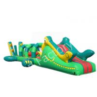 Green Floating Inflatable Island Indoor Inflatable Water Obstacle Custom