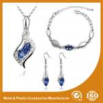 Charming Gold Blue Crystal Zinc Alloy Jewelry Sets For Bridesmaids