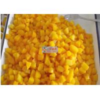 Healthy canned yellow peach slices in light syrup / Peeled halves yellow peach