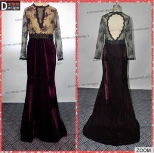 China Surmount Real Sample New Beautiful Lace Top Keyhole Back Long Sleeve Velvet Evening Dresses From Dubai on sale