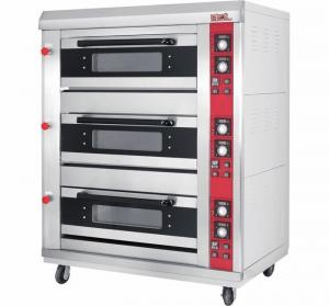 China 3 Layer 6 Tray Gas Baking Ovens with Window Door Mechanical Controller Timer on sale
