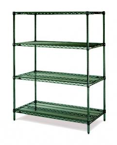 """China 18""""D Green Epoxy Commercial Wire Shelving Rack For High Moisture Wet Environment on sale"""