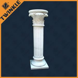 China Natural White Marble Column Carved / Solid For Outdoor Decoration on sale