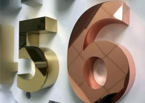 China 3D built up mirror face stainless steel Dimensional Letter Signs with gold color on sale