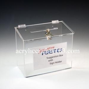 China Wholesale clear acrylic suggestion box with lock & sign holder on sale