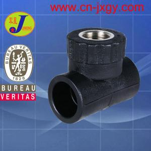 China hdpe plastic pipe fittings socket fusion female threaded tee on sale