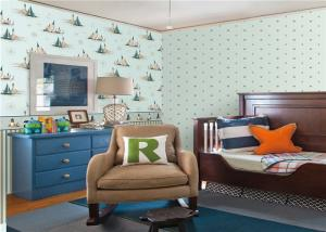 China Embossed Star Kids Bedroom Wallpaper , Modern Nursery Wallpaper For Walls on sale
