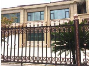 China Pvc Coated Front Garden Wooden Fence Spear Top Zinc Steel Tubular Waterproof on sale