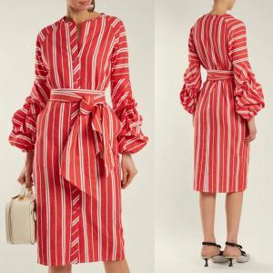 China 2018 Women Clothes Gathered Bell Sleeves Striped Midi Design Fashion Dresses For Women 2018 on sale