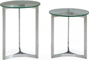 Quality Clear Glass Sofa Side Tables , Modern Metal Glass Round End Table , for sale