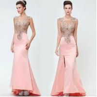 2014 New Sheath Gowns Pink Elegant Long See Thourgh Party Dress Embroidery Vestidos De Fiesta Vestido Longo Custom